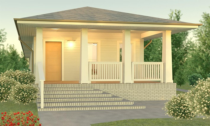 Simple style 2 bedrooms prefab cabin