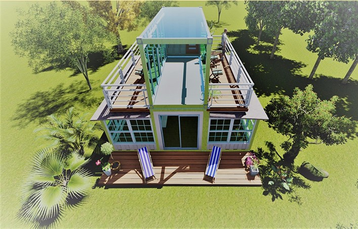 2 floor new design prefab expandable container house